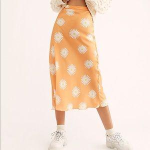 Free people silk midi skirt